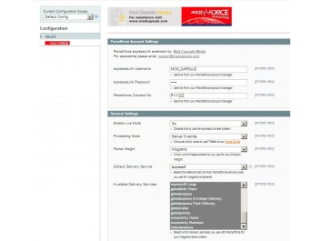 Parcelforce Magento Config 1