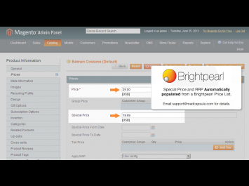 Magento Special Price with Brightperl
